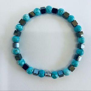 Genuine Turquoise & Hematite Southwestern Bracelet
